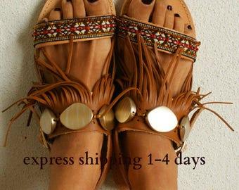 "Ethnic sandals/ Tribal sandals/ Handmade decorated sandals/ Hippie sandals/ Leather Sandals/ Boho Flats/ Fringed sandals ""MACHU PICCHU"""