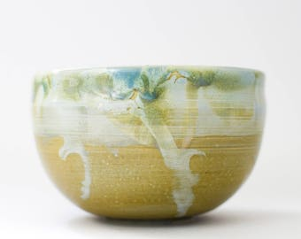 Tea bowl - Green Shino Drips. Chawan. Tea Cup. Japanese inspired tea accessory. Hand thrown. Gifts for Her. Gifts for Him. Handmade Gift.