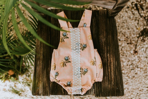 Peach Blossoms Romper, Easter Romper, Easter Outfit, Vintage Inspired Romper, Bubble Romper, Baby Girl Romper, Retro Baby Romper