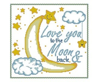 Cross stitch pattern I love you, I love you to the Moon and back