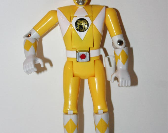 RARE MMPR Power Rangers Auto Morphin Flip Head Trini Yellow Ranger Action Figure VHTF Bandai 1993
