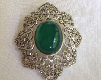 Sterling Silver Marcasite Brooch Green Stone