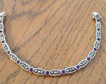 Amethyst and Marcasite Sterling Silver Bracelet