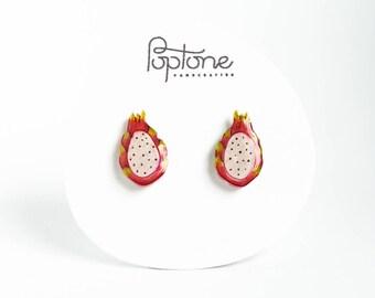 Dragon Fruit Earrings, pitaya earrings, dragonfruit earrings, fruit earrings, kawaii