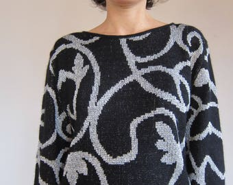 Black Silver metallic silver Lurex VINTAGE 1980's Angora Wool Sweater / / 80s Arabesque