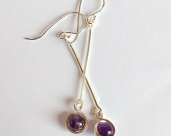 sterling silver dangles, silver drop earrings, silver and amethyst earrings, amethyst drop earrings, amethyst dangles, purple earrings