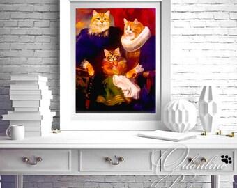 cat portrait, pet portrait, custom cat portrait,  custom pet portrait, cat painting, cat art,  cat lover gift, custom portrait, dog portrait