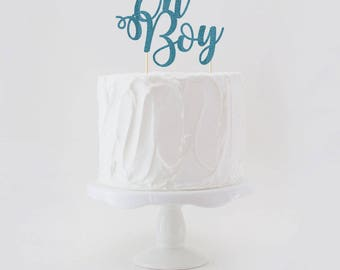 Oh Boy Double Sided Glitter Cake Topper