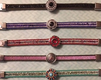 Clearance Sale Priced!  Unique Beaded Leather Interchangeable Snap Bling Bracelets - Various Colors with a 18mm Snap and a Magnetic Closure
