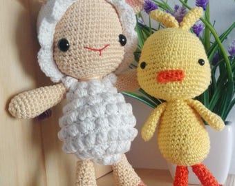 Lila Lamb/loius the duck and his teddy/amigurimi/handmade/crochet