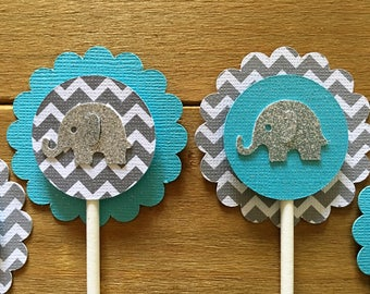 12 Blue Elephant Cupcake Toppers, Elephant Cake Topper, Elephant Baby Shower, Elephant decoration, elephant party decoration, It's a Boy