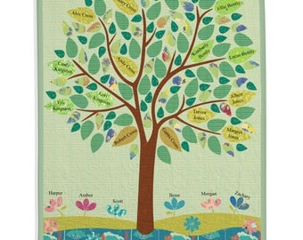 Family History Quilt, Genealogy Quilt, Family Tree Quilt - Ancestors and Descendants Quilt