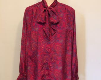 Vintage Burgundy Paisley Print Blouse | Size 14 Extra Large | 1980's-1990's | Padded shoulders | Neck Tie | Pussy Bow