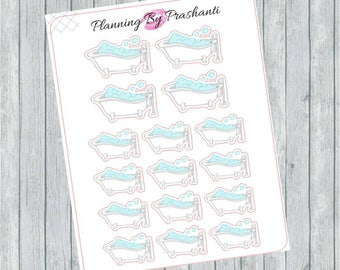 Bath Time Pamper Spa Planner Stickers - For the Erin Condren Life Planner and Happy Planner