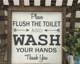 Please Flush The Toilet, Wash Your Hands, Bathroom Sign, Wood Framed Sign, Rustic Decor, Farmhouse Decor, Handwritten Font, Gallery Wall