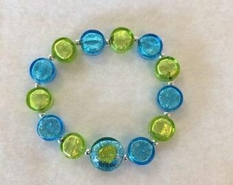 Bracelet Verre de Murano, Blue and Peridot (green)