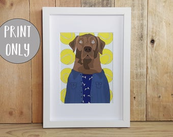 Chocolate Labrador Print, Labrador gifts, Labrador Retriever Art, Dog nursery art, dog lover gift, Chocolate lab mom, Kids room decor