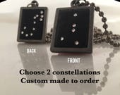 Valentine's Day husband gift: 2 Sided constellation necklace w Crystal Stars Double constellation Necklace Lucky Star Dreams boyfriend gift