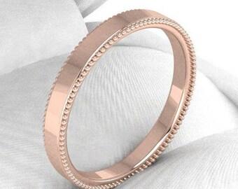 Milgrain Wedding Band Ring- rose gold wedding band - White gold wedding band - Men and woman Wedding ring - mens wedding band