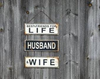 Best Friends for Life Husband and Wife-Bride and Groom Sign-Marriage-Wedding Signs-Reception Signs-Wedding Photo Props-Newlywed Sign-Wedding