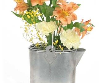 European Watering Can with Flower Frog-Vintage Watering Can-Galvanized Watering Can-Watering Can for Plants-Flower Frog Watering Can