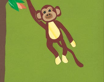 Monkey Nursery, boy nursery, Jungle Nursery, Gift for baby girl, baby room, green nursery art, monkey wall art, kids decor, monkey print