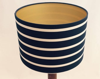 Hand made rolled-edge gold-lined 'nautical stripes' fabric lampshade