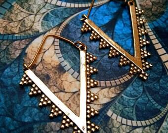 Hoop Brass Earrings. Hoop Earrings. Boho Earrings. Gypsy Hoop Earrings. Ethnic Earrings. Tribal design. Handmade Jewelry. Festival Jewelry