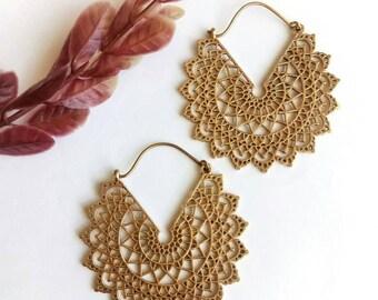 Big Hoop Earrings, Hoop Earrings, Big Earrings. Tribal Earrings, Brass Earrings, Boho Earrings. Gypsy Earrings. Ethnic Earrings. Earrings.