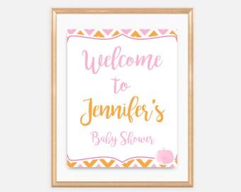 A Little Pumpkin - Welcome Baby Shower Sign, Baby Shower Signage, pink, orange, fall, october, autumn, pumpkin, leaves, girl, 021