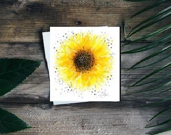 Sunflower greetings card // sunflower card // sunflower birthday card // sunflower gifts // sunflower art // sunflower painting