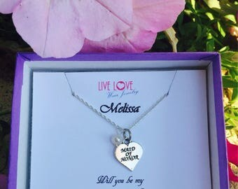 Charming 925 Sterling Silver Made of Honor Necklace