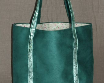 Large tote bag Green suede and sequined band Green of water