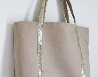 Large tote bag in beige suede and gold glitter band