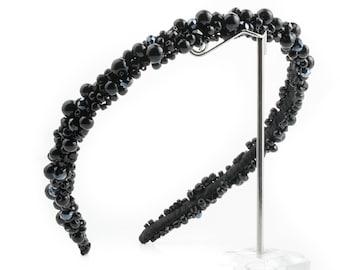 Black Hair band, Wreaths, Bridal Tiara, Bridal wreaths, Bridal Crown, Bridal Hair Accessory, Wedding Headpiece, Hair comb, hair rim