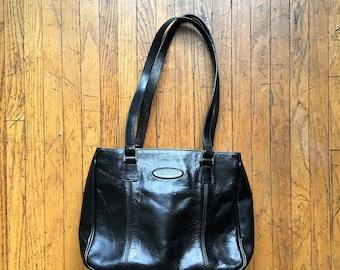 Gorgeous Oroton Black Leather Shoulder Bag, Excellent Condition