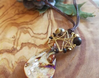 Brown shell natural necklace** drop pendant wooden beads