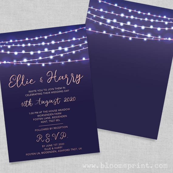 Navy and rose gold wedding invitations, Rose gold wedding invites, Elegant rose gold wedding invitations, Rustic country wedding invitations