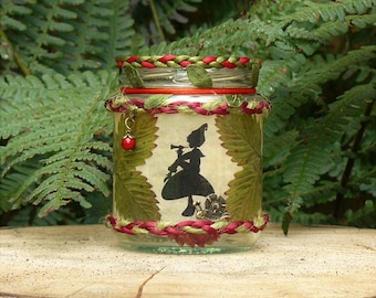 Pixie within wild strawberries Fairy jar candle lantern. Handmade & unique gift.