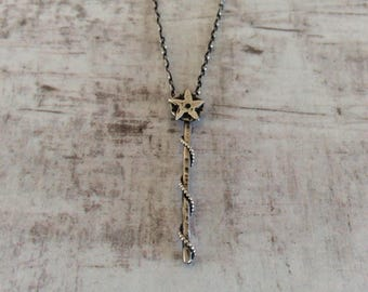 MAGIC WAND NECKLACE - Silver Wand Necklace - Star Wand Pendant