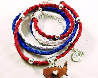 USA United States of America Triple Braid Suede Leather Wrap Bracelet|Heart|USA|Red|White|Blue|Patriotic|Gift for Her