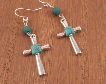 Silver and turquoise cross earrings, turquoise bead earrings, cross earrings, religious earrings, religious jewelry, baptism gift, petite