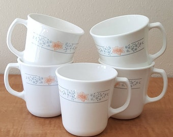 Corelle Corning Apricot Grove~5 Corning Mug Set~ White Glass with Peach and Blue Flowers Made in USA