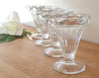 4 Large Glass Ice Cream Cups