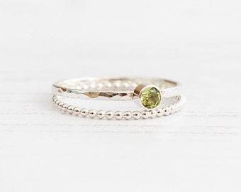 Peridot ring, Birthstone ring August, Gemstone dainty ring, Stackable ring, Sterling silver gemstone ring, birthday gift, UK Jewellery