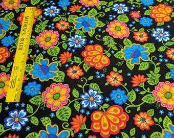 Emily's Artful Days-Flowers on Black Cotton Fabric from Exclusively Quilters