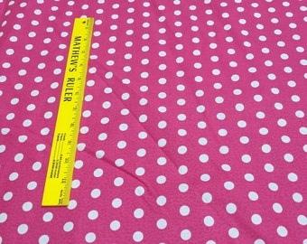 White Dots on Pink Cotton Fabric