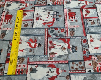 Snowman Patch Cotton Fabric from Fabri-Quilt