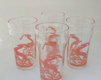 1940s Mid Century Pink Gazelle Glass Tumblers with Unique Crown Detail