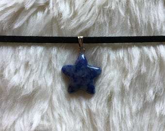 Gemstone Choker, Crystal Choker, Sodalite Choker, Sodalite Star Choker Necklace, Crystal Jewelry, Gemstone Jewelry, Sodalite Necklace